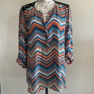Zac & Rachel chevron lace shirt size XL